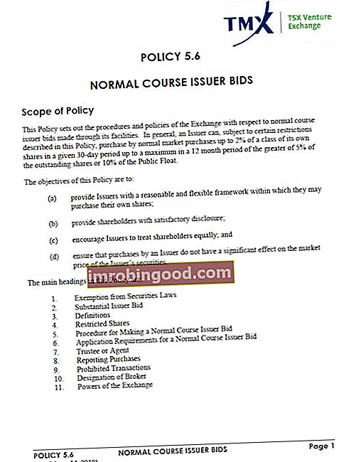 Mikä on normaalin kurssin liikkeeseenlaskijan tarjous (NCIB)?
